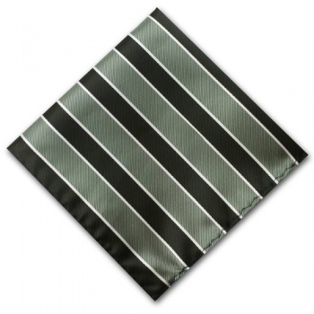 Black and Grey Striped Pocket Square